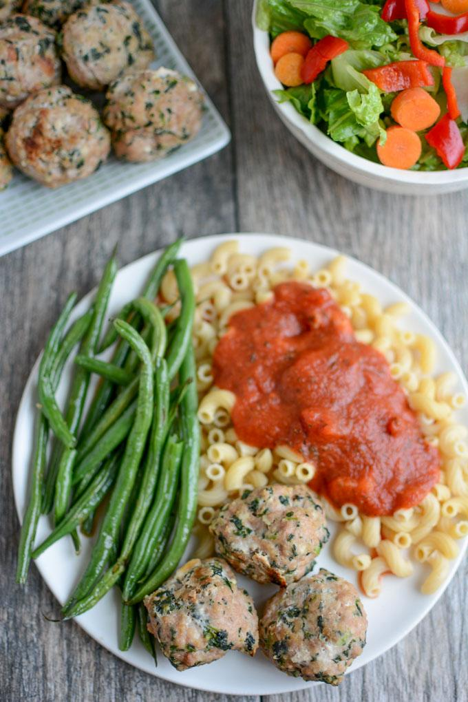 Spinach Feta Meatballs with pasta and green beans