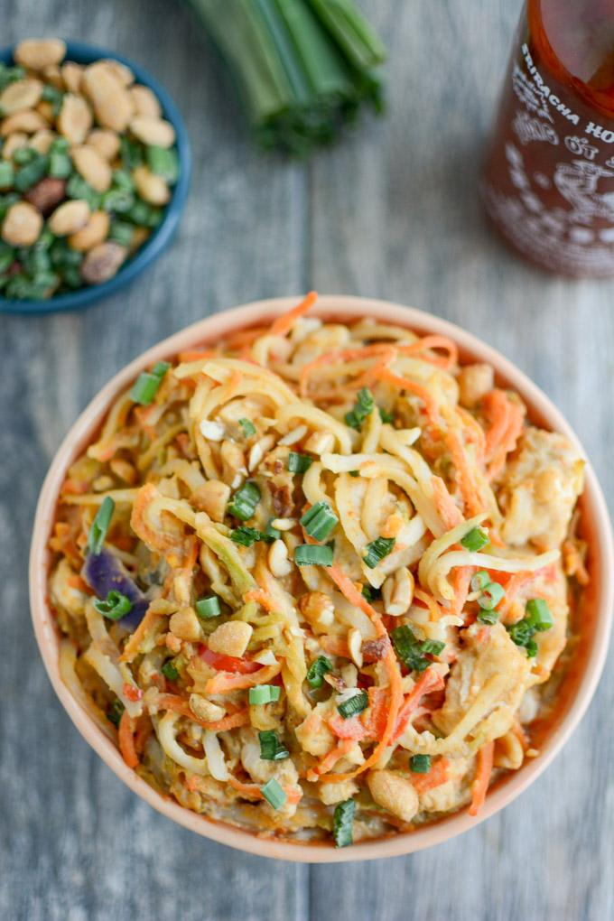 Instant Pot Asian Peanut Noodles with chicken