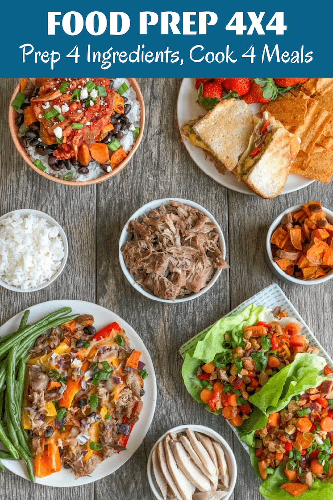 These Easy Pulled Pork Recipes can also be made with chicken or another protein source. Prep four simple ingredients on the weekend and combine for four quick, healthy meals during the week.