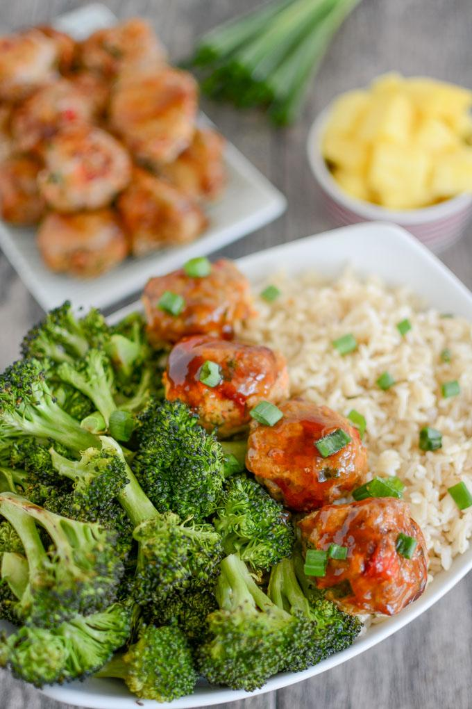 Carrot Pineapple Turkey Meatballs with rice and broccoli