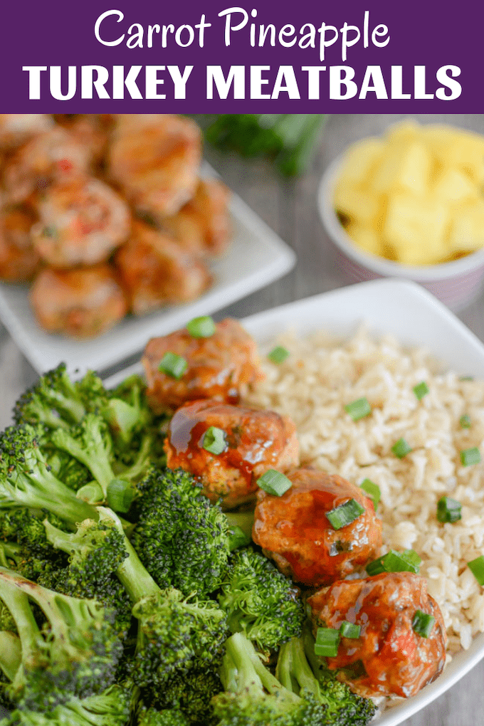 This Carrot Pineapple Turkey Meatballs recipe is easy to make and packed with vegetables, plus a pineapple glaze for extra flavor. Prep them ahead of time and eat warm or cold for a quick lunch or dinner.