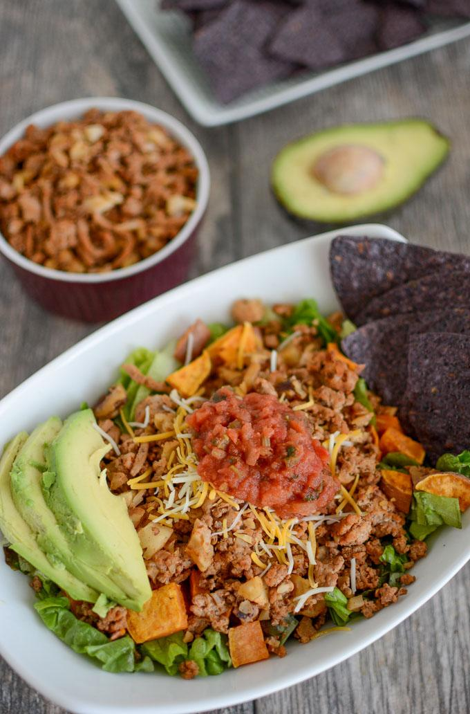 Turkey Walnut Taco Meat with salsa, avocado and chips