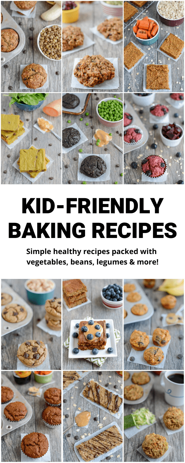 These Kid-Friendly Baking Recipes are perfect for getting into the kitchen with your kids. They're packed with vegetables, legumes, beans and more for healthy snacks the kids will love!