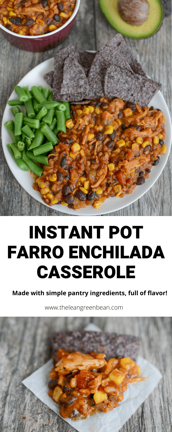 This Instant Pot Farro Enchilada Casserole is the perfect weeknight dinner. It's also great for meal prep, freezes well and is made with pantry staples!