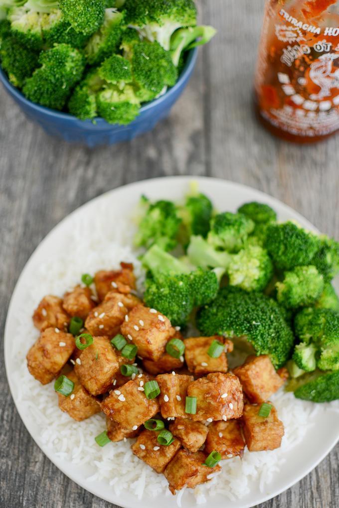 Crispy Honey Garlic Air Fryer Tofu with broccoli