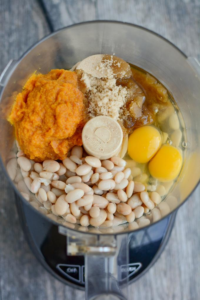 pumpkin, northern beans, eggs, brown sugar and oil in a food processor