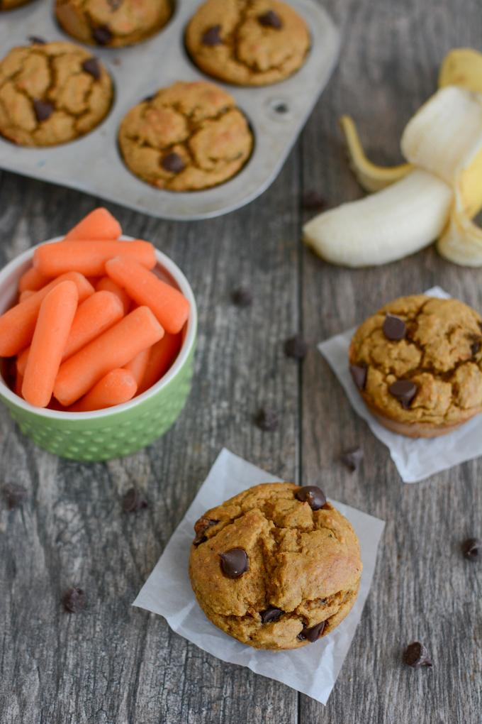 Banana Carrot Muffins - lightly sweetened and kid-friendly