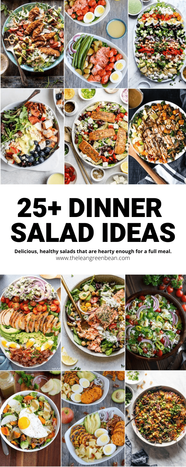 If you're tired of the same boring salads, look no further! This post has 25+ dinner salad ideas by category so you're sure to find some inspiration for a salad you love.