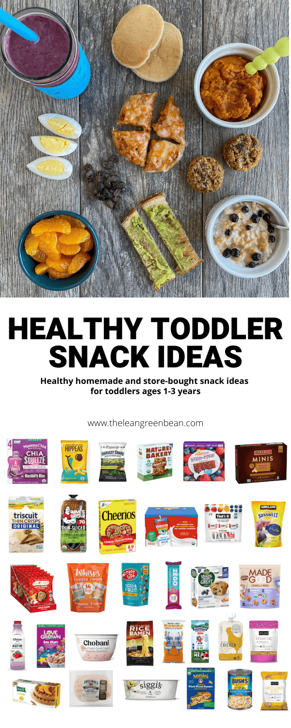 Need ideas for healthy snacks for toddlers? This list is specifically geared towards kids 1-3 years old, with homemade and storebought ideas for at home and on the go.