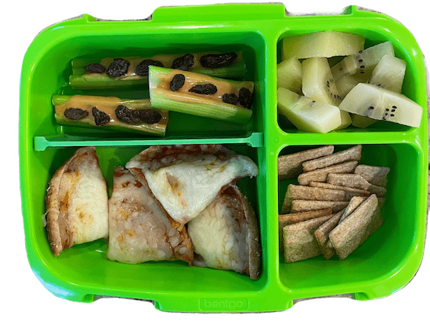 grade school lunch box with pizza, ants on a log, wheat thins and kiwi