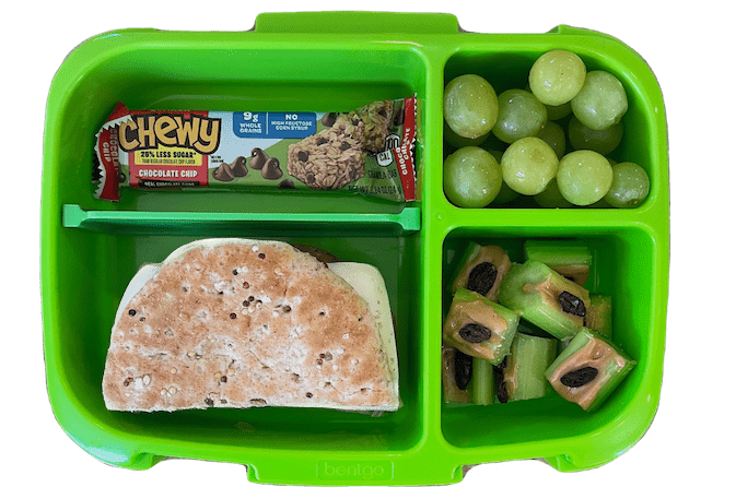 kids lunch with granola bar, turkey sandwich, grapes and ants on a log
