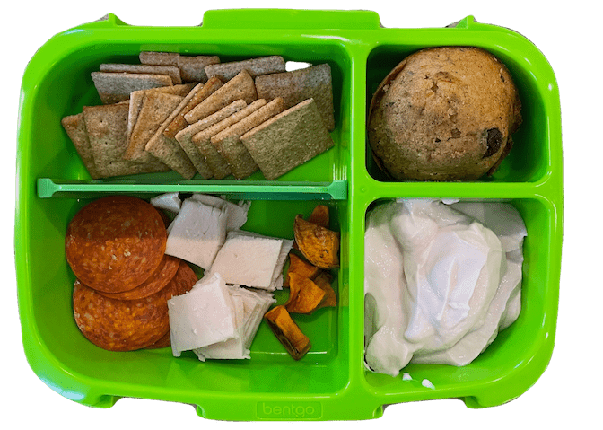 kids lunchable with wheat thins, turkey, pepperoni, yogurt and cookie