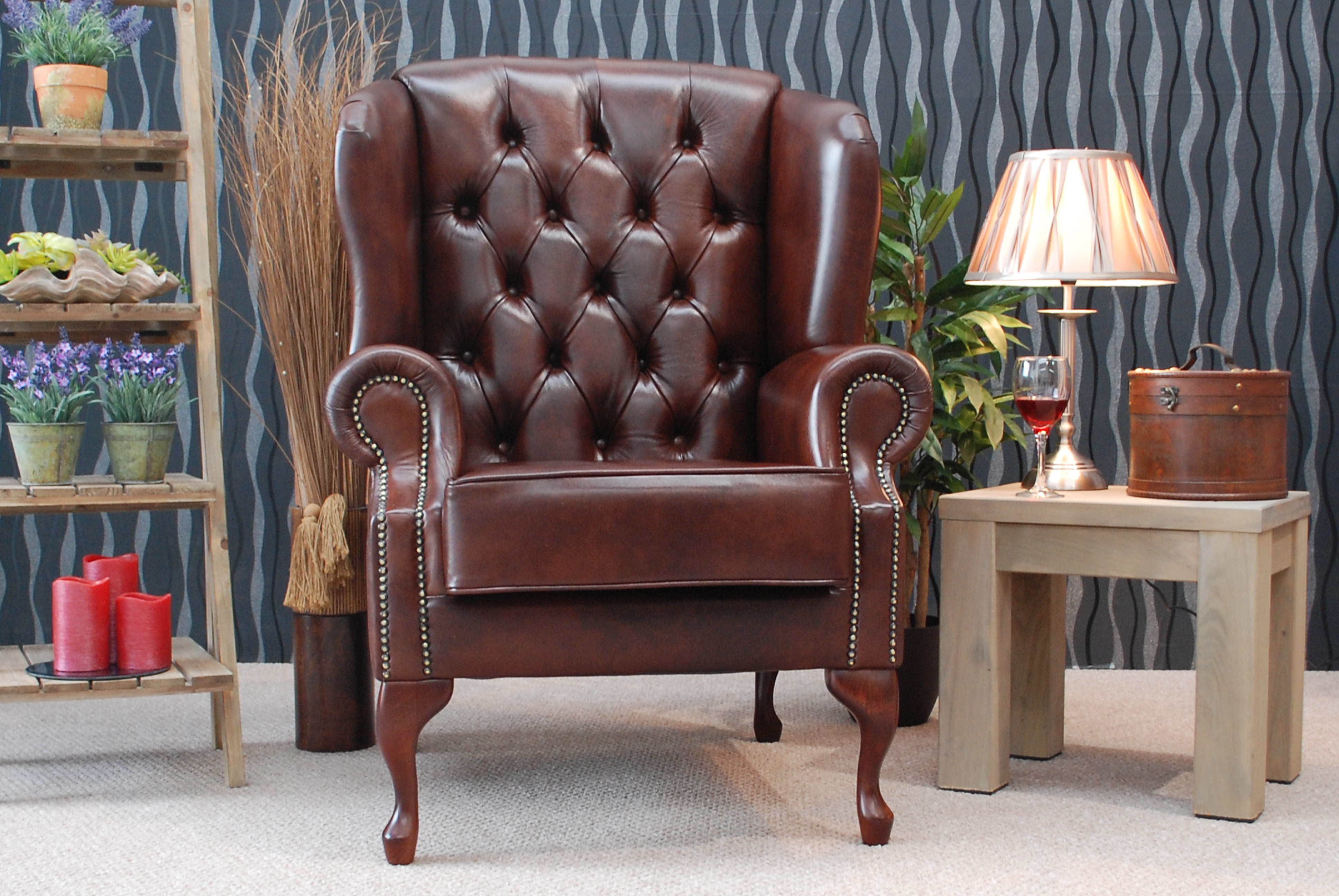 leather wing chair uk white windsor kitchen chairs armagh high quality traditional