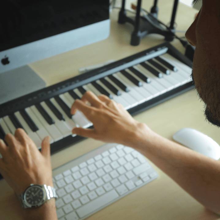 This is a picture of Craig Hardy playing the keyboard while songwriting. He believes that a good song is all about a great vocal and a great melody. Songwriting is key. He likes to refer to himself as a songwriter.