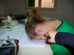 This was actually me being frustrated at my Arabic lesson...but it's the same idea.