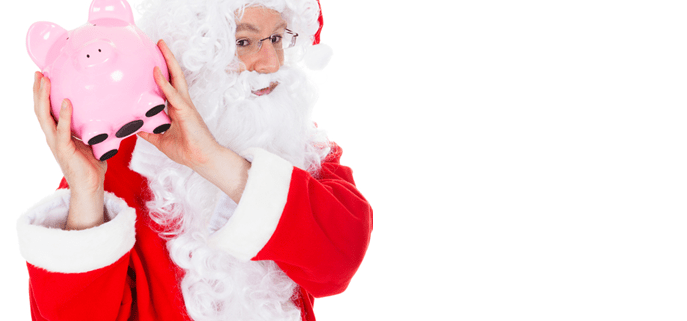 Make holiday email marketing pay off (Santa Clause with piggy bank)