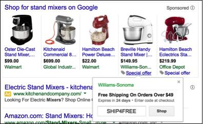 shopping ads in google shopping interface