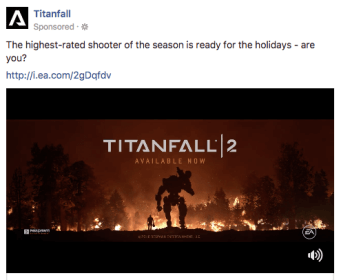 titanfall advertisement with video on facebook