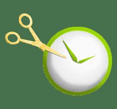 gold scissors cutting leverage green clock