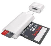 sd card reader with small and large 16 gb sd card inserted