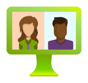leverage green computer showing interview with influencer