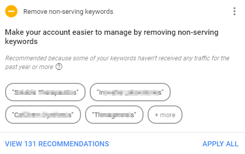 adwords non-serving keywords recommendation screenshot