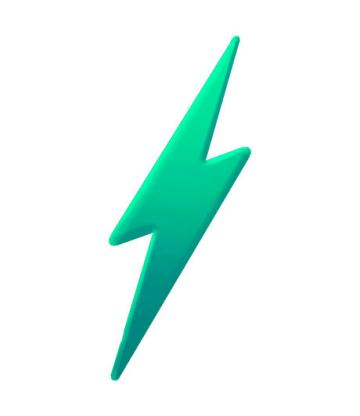 amp style lightning bolt in green for pros