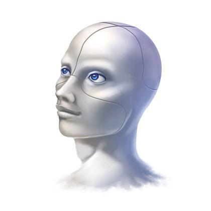 male cyborg representing bot marketing