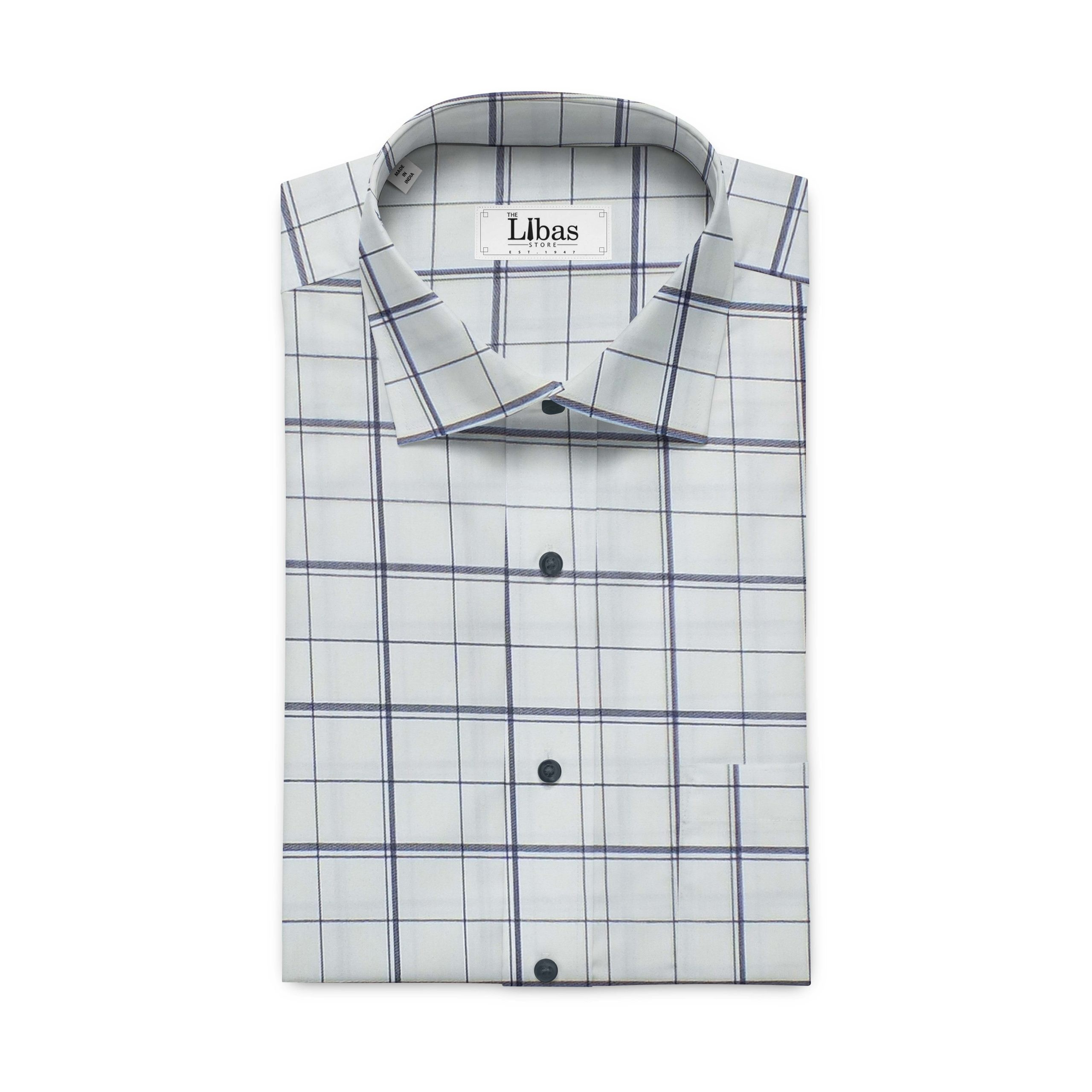 Monza Men's Cream & Blue Broad Check Cotton Shirt Fabric
