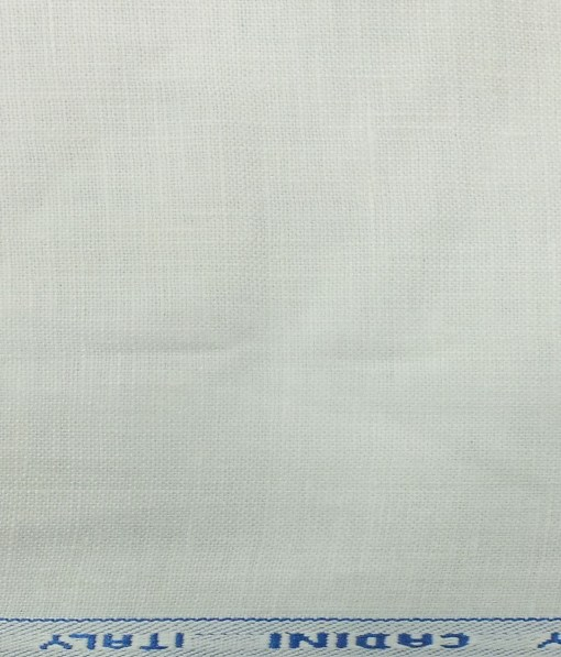 Cadini by Siyaram's White 100% Pure Linen 25 LEA Self Design Unstitched Trouser Fabric