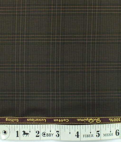 Cadini by Siyaram's Dark Brown Checks 100% Supima Cotton Trouser Fabric (Unstitched - 1.30 Mtr)