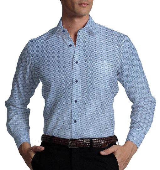 Reid & Taylor Dark Navy Blue Self Checks Trouser Fabric With Exquisite Sky Blue Printed Shirt Fabric (Unstitched)