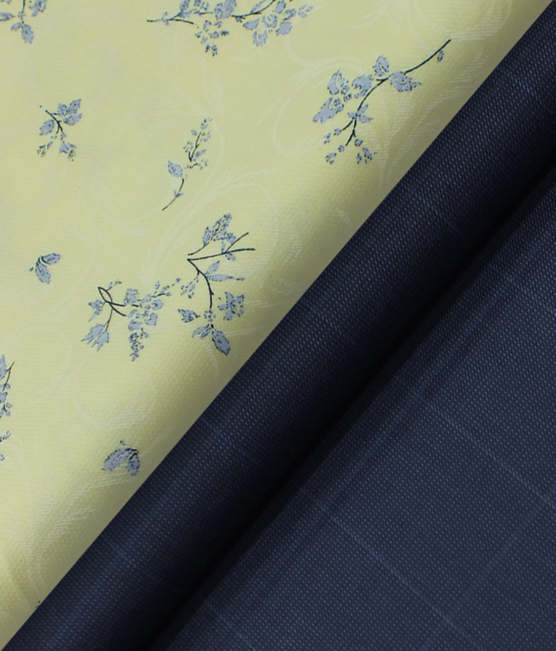Reid & Taylor Denim Blue Checks Trouser Fabric With Monza Light Yellow Floral Printed Shirt Fabric (Unstitched)