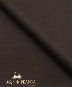 Mark & Peanni Dark Brown Solid Terry Rayon Unstitched Fabric (1.25 Mtr) For Trouser