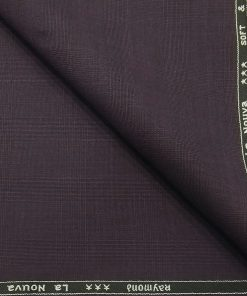 Raymond Dark Purple Self Checks Poly Viscose Unstitched Fabric (1.25 Mtr) For Trouser