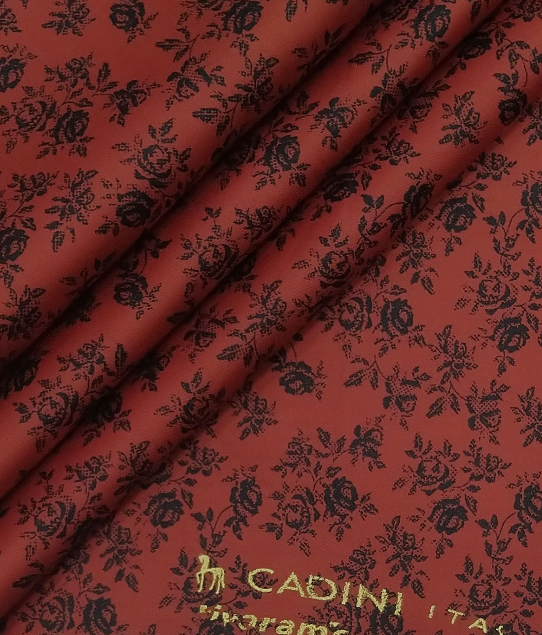 Cadini Italy Sangaria Red 100% Cotton Dark Blue Floral Print Shirt Fabric (1.60 M)