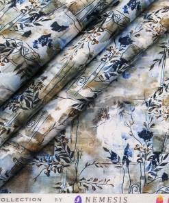 Nemesis White & Blue Multi Color 100% Egyptian Giza Cotton Digital Floral Print Shirt Fabric (1.60 M)
