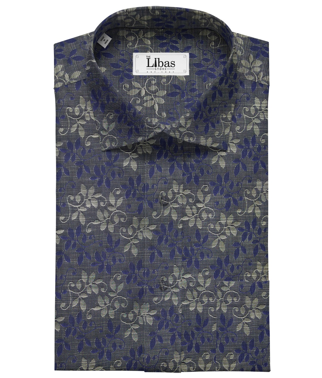Raymond Dark Grey 100% Cotton Blue Floral Jacquard Shirt Fabric (1.60 M)