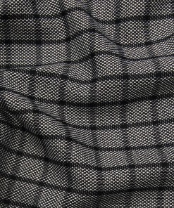 Sage & Simon Grey & Black Structured Cum Checks Unstitched Terry Rayon Suiting Fabric