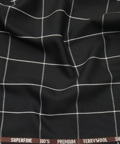 Saville & Young Black & White Broad Checks Super 110's 20% Merino Wool Suiting Fabric