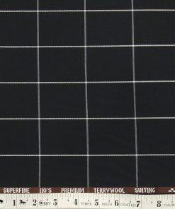 Saville & Young Black & White Broad Checks Super 110's 20% Merino Wool Suiting Fabric