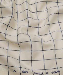Saville & Young Cream & Blue Broad Checks Super 110's 20% Merino Wool Suiting Fabric