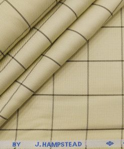 J.Hampstead Italy by Siyaram's Men's Light Beige 100% Supima Cotton 2 Ply Brown Checks Unstitched Suiting Fabric (1.30 Meter)