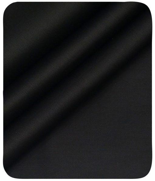 Nemesis Men's Jet Black 100% Giza Cotton Solid Satin Shirt Fabric (1.60 M)