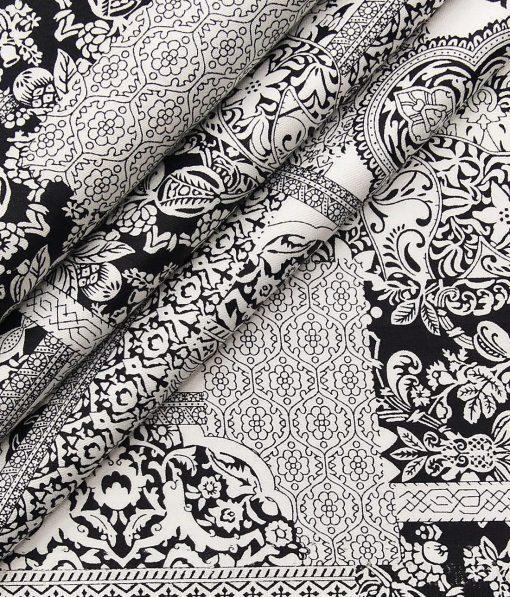 Nemesis Men's 100% Giza Cotton Black Damask Printed Unstitched Shirt Fabric (White
