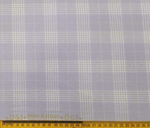 Don & Julio Terry Rayon Unstitched Checks Suiting Fabric (Light Purple)