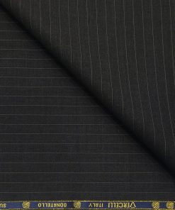 Vercelli Italy Men's Wool Super 120s Unstitched 3.25 Meter Grey Stripes Suiting Fabric (Black)