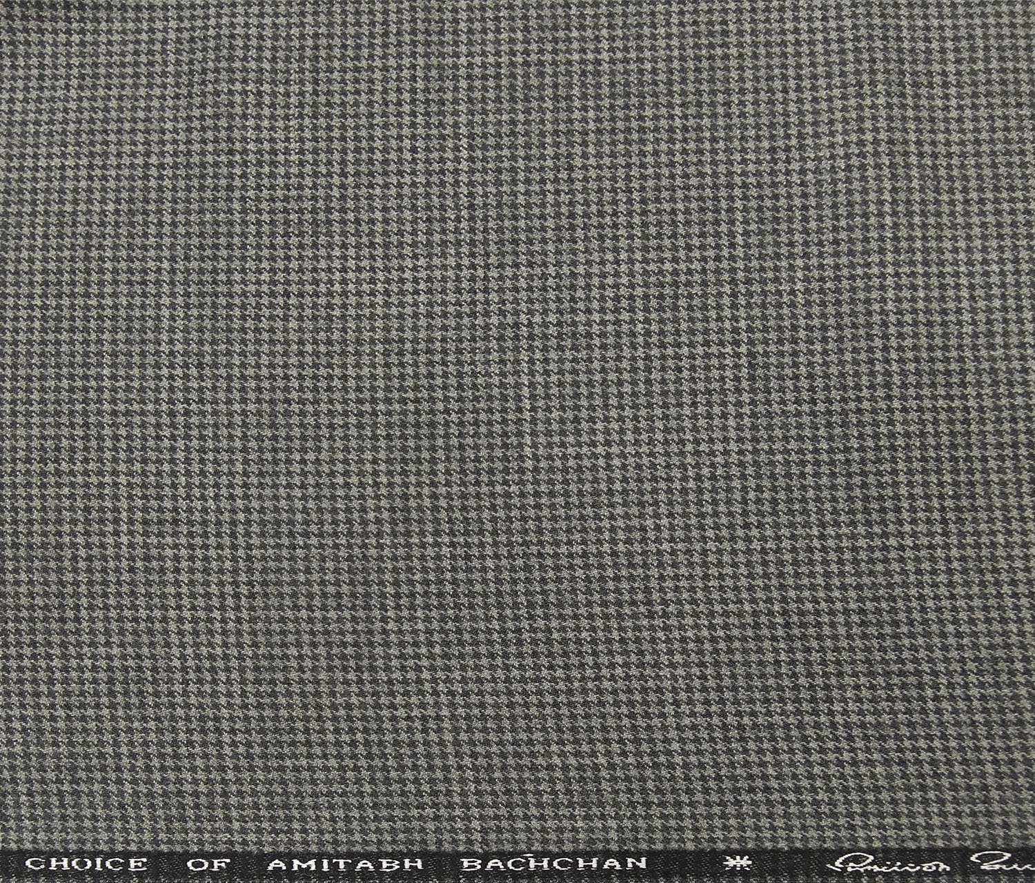 OCM Men's Wool Black Houndstooth Weave 2 Meter Unstitched Tweed Jacketing & Blazer Fabric (Grey)