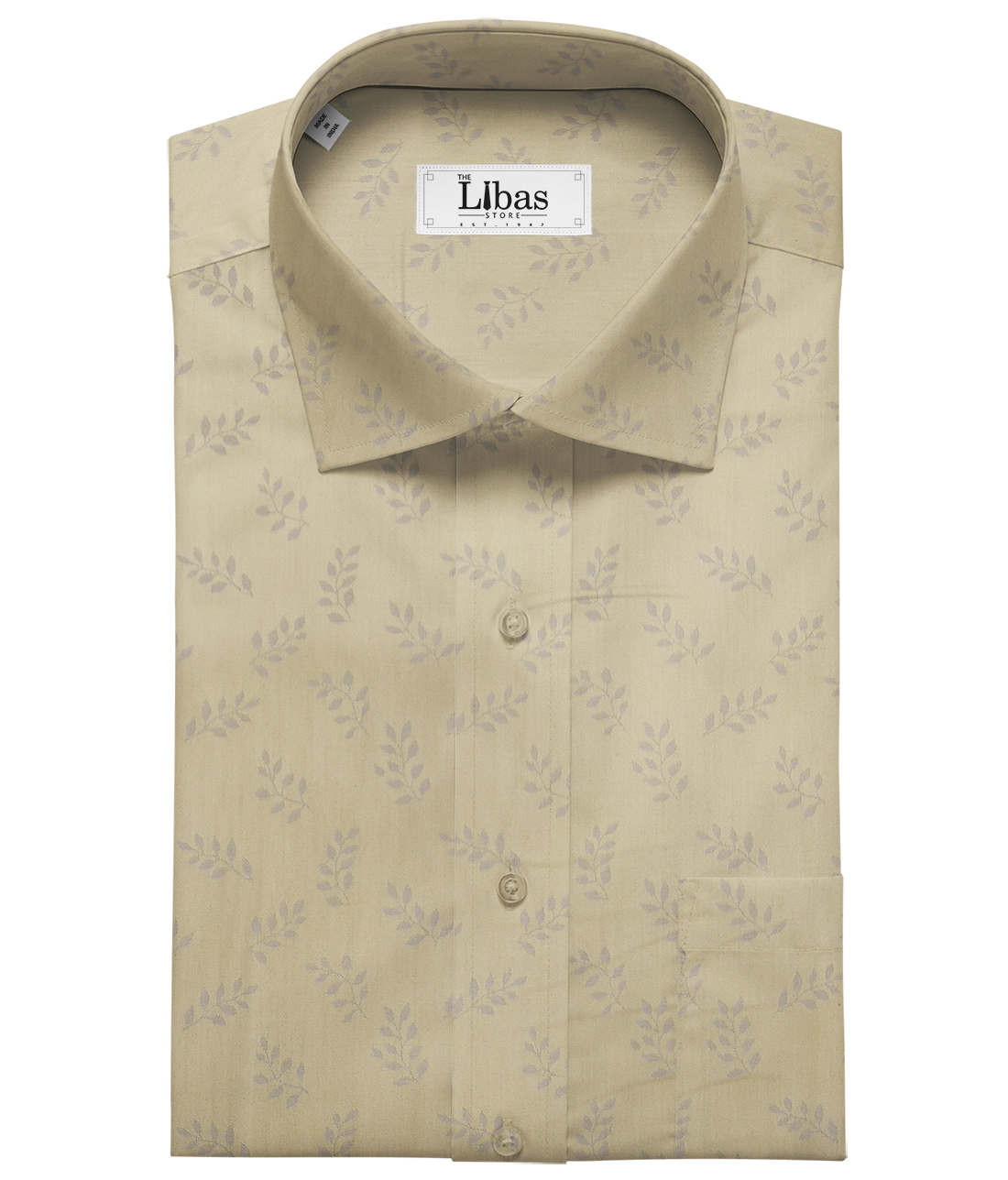 Soktas Men's Giza Cotton Floral Jacquard 1.60 Meter Unstitched Shirt Fabric (Oat Beige)