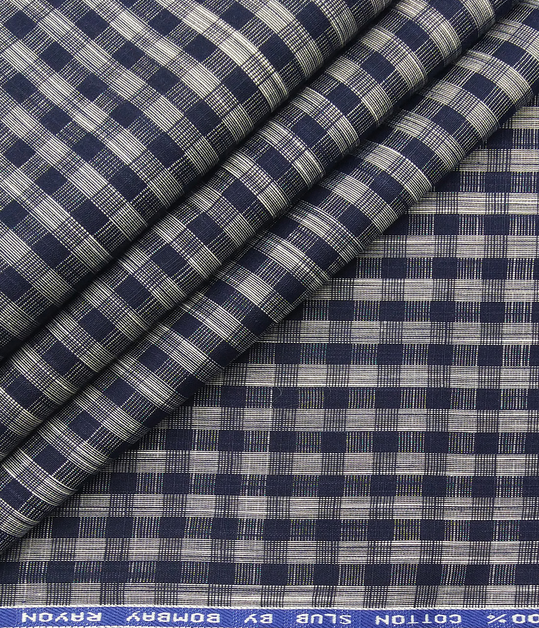 Bombay Rayon Men's Cotton Blue Checks 1.60 Meter Unstitched Shirt Fabric (Grey)